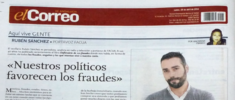 Entrevista en contraportada de El Correo de Andalucía sobre DEFIÉNDETE de #101fraudes