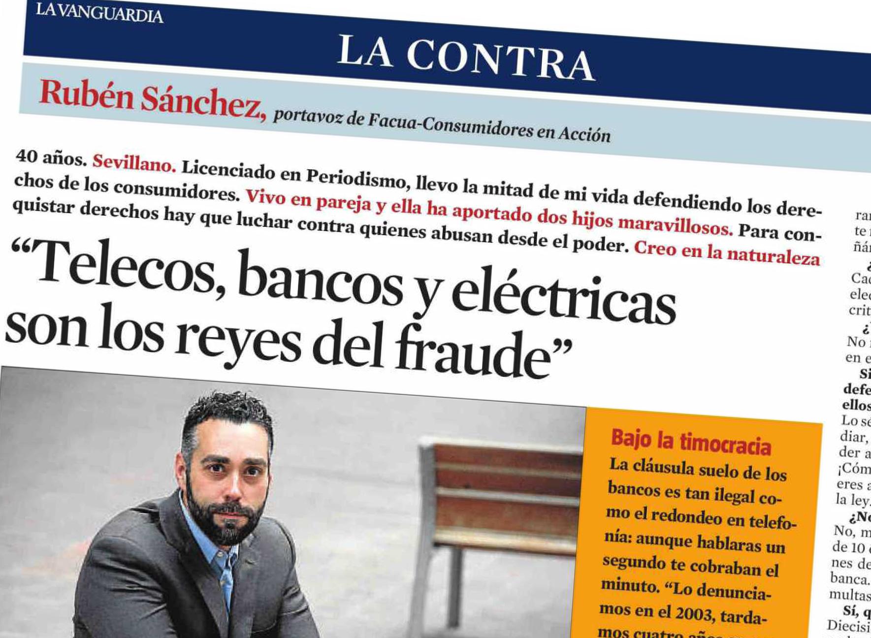 Entrevista sobre DEFIÉNDETE de #101fraudes en La Contra de La Vanguardia