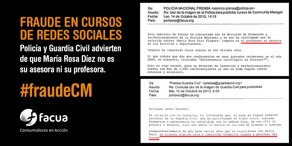 #FraudeCM Cursos de social media: @mariarosadiez se sigue haciendo pasar por asesora de @policia y @guardiacivil