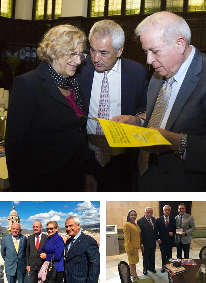 Luis Pineda, en 2015 con la alcaldesa de Madrid, Manuela Carmena (arriba), el de Málaga, Francisco de la Torre (abajo a la izquierda), y el de Sevilla, Juan Espadas